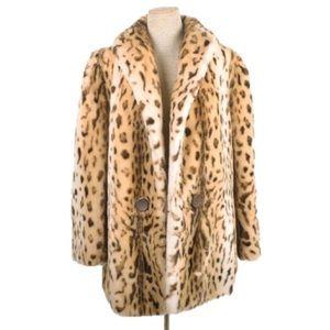 Vintage J.C. Kramer Tissavel faux leopard fur coat